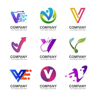 Letra v logo set