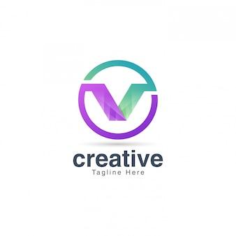 Letra v logotipo para mídia e entretenimento