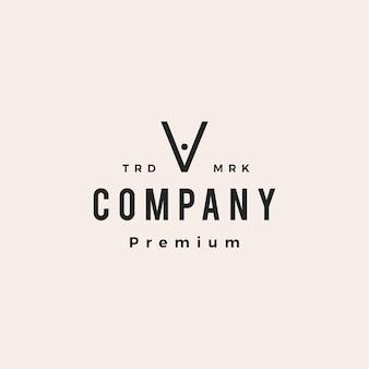 Letra v pessoas equipe família hipster logotipo vintage ícone ilustração em vetor