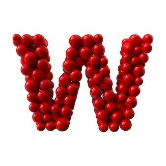 Letra w com bolas brilhantes coloridas vermelhas. ilustração realista.