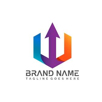 Letra w com design de logotipo de seta