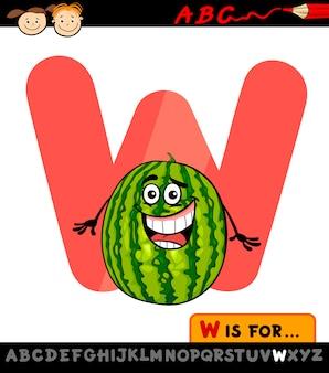 Letra w com ilustração de desenho animado de melancia