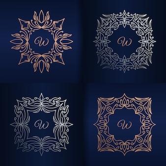Letra w com modelo de logotipo floral