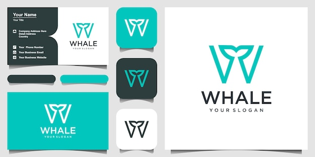 Letra w combinada com elemento de baleia inspiração no design do logotipo