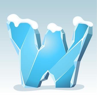 Letra w de gelo com neve no topo, fonte de vetor