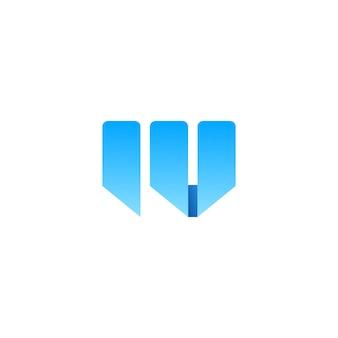 Letra w dupla u logotipo