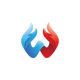 Letra w e logotipo de penas de asa