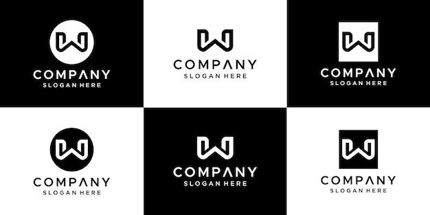 Letra w logo design abstrato