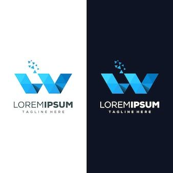 Letra w logotipo pronto para uso