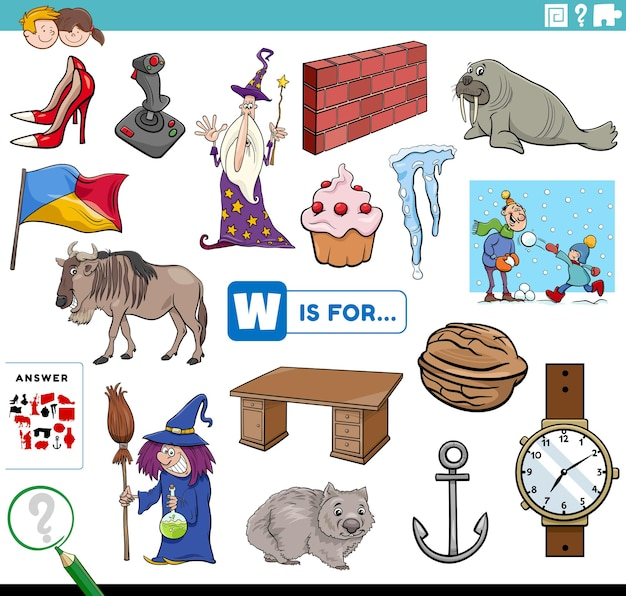 Letra w palavras tarefa educacional para crianças