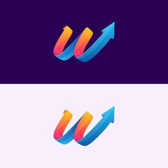 Letra w seta logotipo