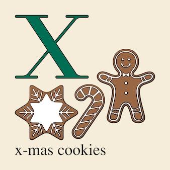 Letra x com biscoitos de natal