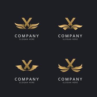 Letra x com modelo de logotipo de asa abstrata de luxo