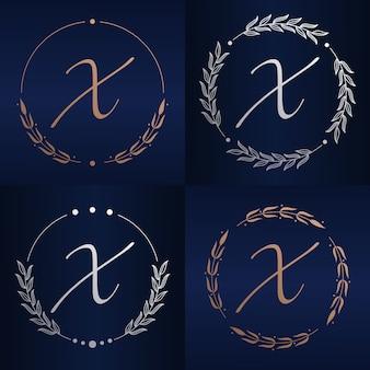 Letra x com modelo de logotipo floral
