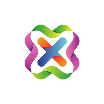 Letra x com vetor de logotipo de ondas coloridas