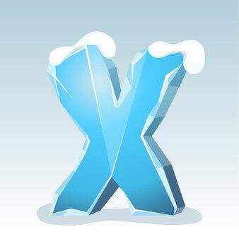 Letra x de gelo com neve no topo, fonte de vetor