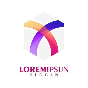 Letra x design de logotipo colorido