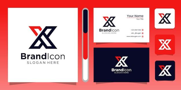 Letra x design de logotipo e cartão de visita