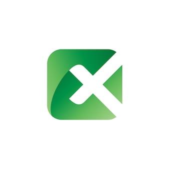 Letra x em vetor de logotipo quadrado