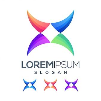 Letra x inspiração cor gradiente logotipo
