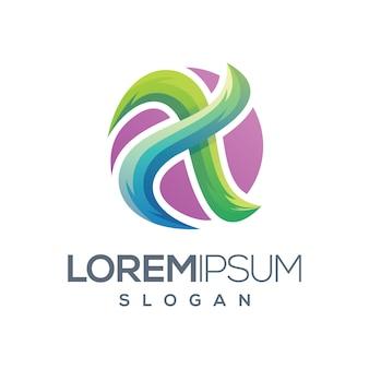 Letra x logotipo gradiente cor