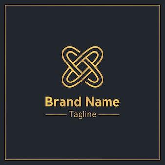 Letra x na forma de modelo de logotipo dourado de dois anéis conectados