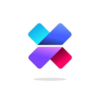 Letra x ou v logotipo sinal ou gradiente logotipo abstrato colorido com sombra