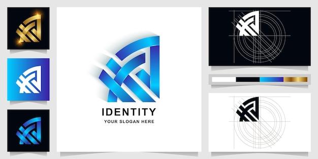 Letra xxa ou modelo de logotipo de monograma a com design de cartão de visita