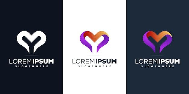 Letra y colorida com design de logotipo de amor