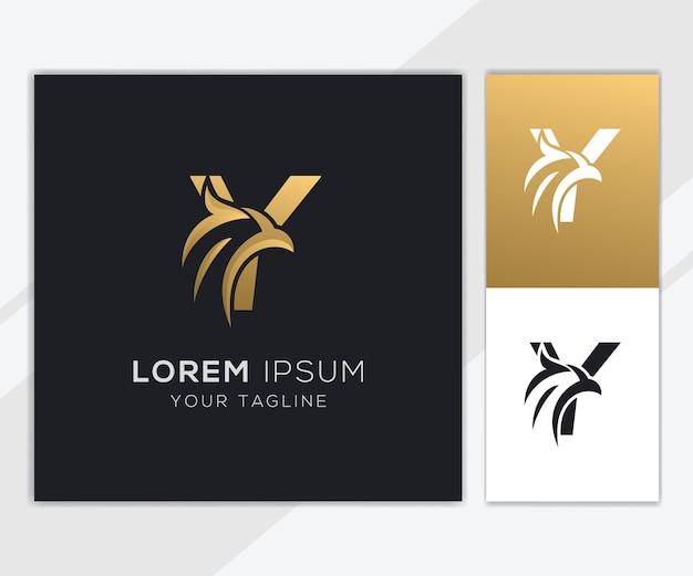 Letra y com modelo de logotipo de águia abstrato de luxo