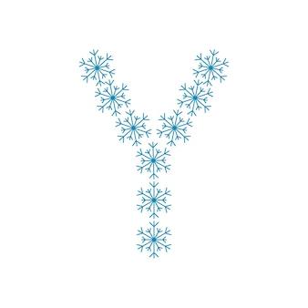 Letra y de flocos de neve. fonte ou decoração festiva para o ano novo e o natal