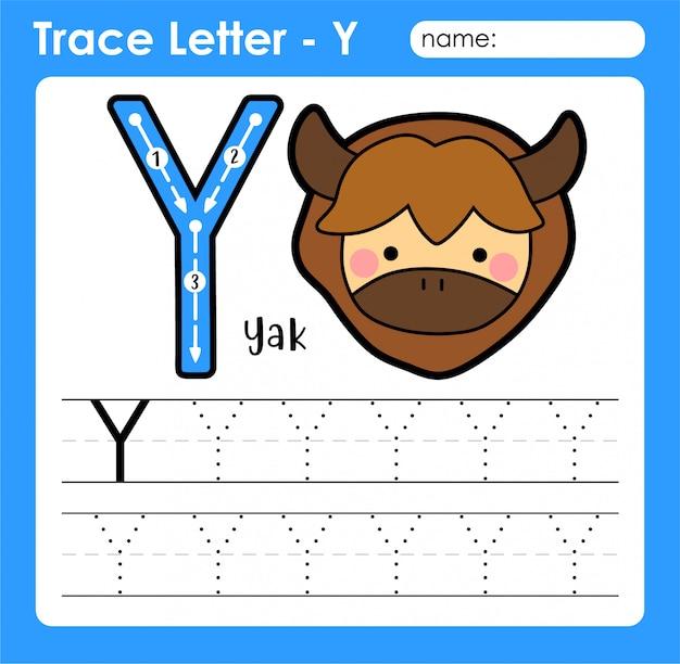 Letra y maiúscula - planilha de rastreamento de letras do alfabeto com iaque