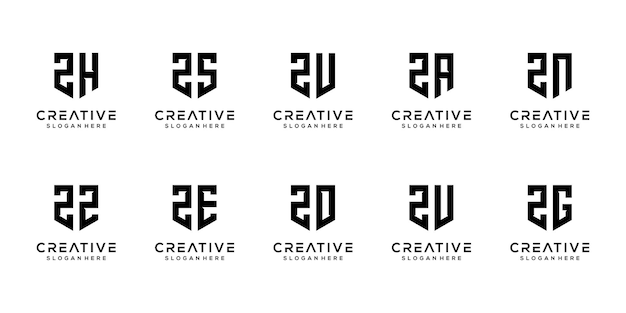 Letra z com formato de triângulo combinada com outros designs de logotipo de monograma