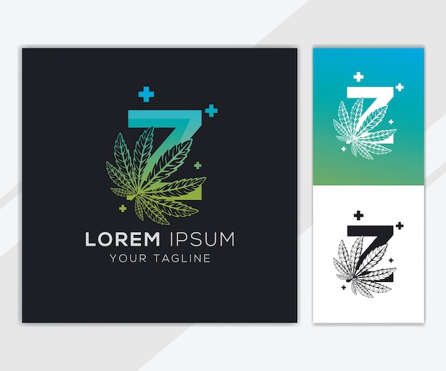 Letra z com modelo de logotipo abstrato de cannabis