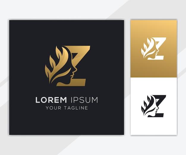 Letra z com modelo de logotipo de beleza feminina natural de luxo
