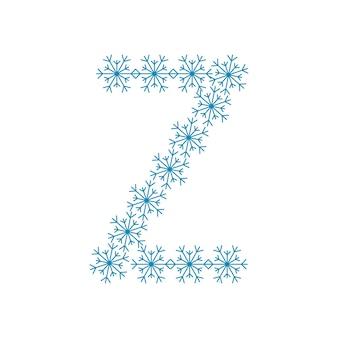 Letra z de flocos de neve. fonte ou decoração festiva para o ano novo e o natal