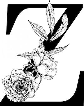 Letra z. monograma de casamento do alfabeto botânico fow