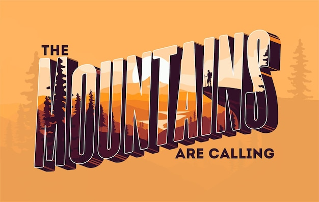 Letras 3d de montanhas com efeito de dupla exposição e paisagem de montanhas Vetor Premium