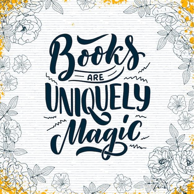 Letras abstratas sobre livros e leitura para design de cartaz.