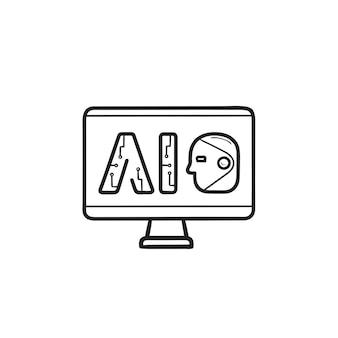 Letras ai no ícone de doodle de contorno desenhado de mão do computador. inteligência artificial, conceito de tecnologia computacional