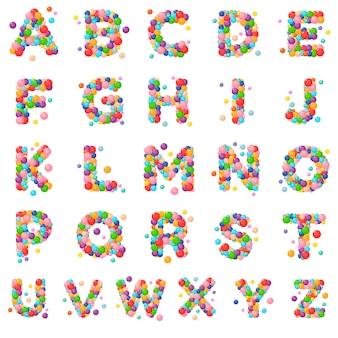 Letras ajustadas do alfabeto do vetor para crianças das bolas coloridas.