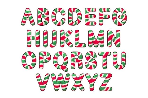 Letras alfabéticas de natal com pirulito