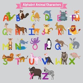 Letras alfabéticas inglesas coloridas de a a z com animais.