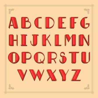 Letras alfabéticas vintage vermelhas de natal