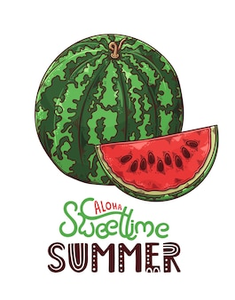 Letras aloha, doce hora do verão com melancia