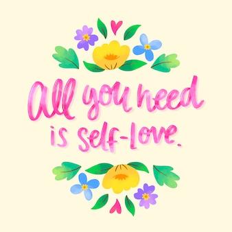 Letras amor próprio com flores