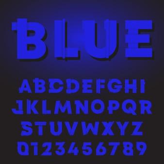 Letras azuis e números gradiente sombra design. fonte do alfabeto