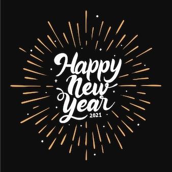 Letras brancas de ano novo de 2021