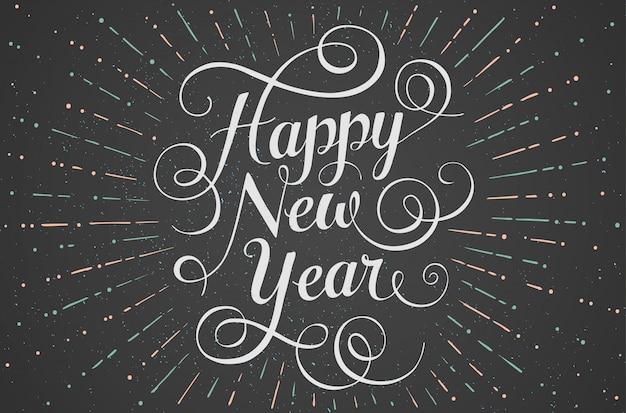 Letras brancas feliz ano novo com raios