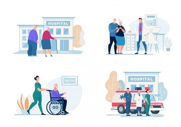 Letras brilhantes da visita do hospital do inseto, desenhos animados.